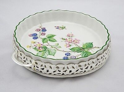 Large Vintage Retro Queen Anne Plated Floral Oven To Tableware Flan Quiche Dish