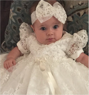 Lace Baby Girl Christening Dresses Headband Bowknot Baptism Gowns White Ivory