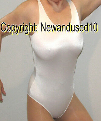 Shiny Beautiful Angelic White New Leotard Bodysuit 1 Pc Suit Scoop Neck Blouse M