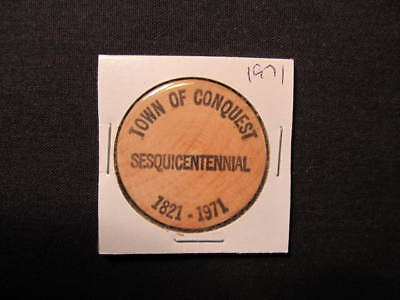 1971 Conquest, New York Wooden Nickel token - NY Sesquicentennial Wood Coin -BLK
