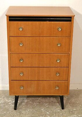 Vintage Mid Century Teak Danish Style Tallboy Chest of Drawers By Lebus - 3315