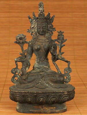 Big Antique Chinese Old Bronze Hand Carved Buddha Kwan-yin Green Tara Statue