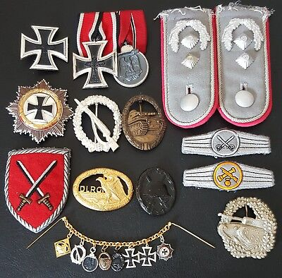 ✚7844✚ German post WW2 1957 pattern veteran medal grouping Iron Cross Panzer