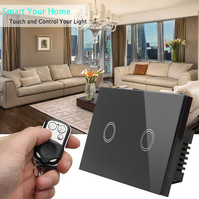 1/2/3Gang 1Way Crystal Glass Panel Smart Touch Light Switch Power Remote Control
