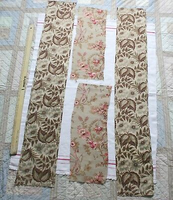 Vintage group of ANTIQUE FRENCH PROVENCE FABRIC pieces c1910...