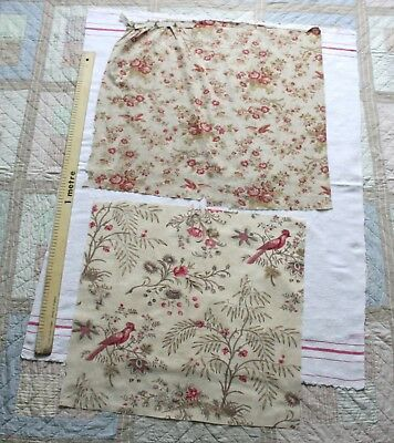 Vintage pair of ANTIQUE FRENCH PROVENCE FABRIC pieces c1910...