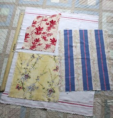 Vintage group of VINTAGE FRENCH PROVENCE FABRIC pieces c1910...