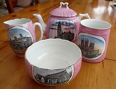 Lovely Collection Of Four Antique  Pink Lustre Ware Of Lincolnshire