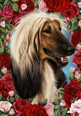 Garden Indoor/Outdoor Roses Flag - Afghan Hound 190871