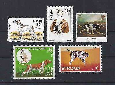 Dog Art Body Study Portrait Postage Stamp Collection 2 ENGLISH POINTER 5 x MNH
