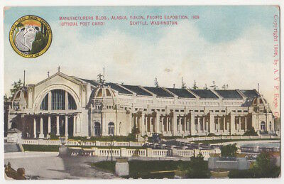 1909 Alaska, Yukon, Pacific Exposition Manufacturing Building, Official Postcard