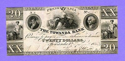 1835 $20 The Towanda Bank PENNSYLVANIA RARE Obsolete Note CRISP HIGH GRADE