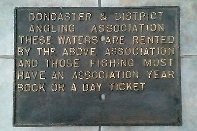 Doncaster & District Angling Association Fishing Cast Iron Sign Plaque Enamel