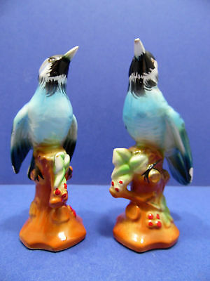 Vintage Empress Blue Jay Figurines Set of 2 Birds Japan Original Paper Label