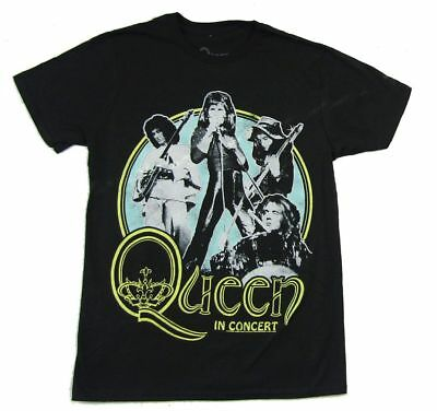 Queen In Concert Band Image Black T Shirt New Official Freddie Mercury