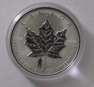 2004 Reverse Proof Canada Maple Leaf with D-Day Privy in Original Box w/COA - NR
