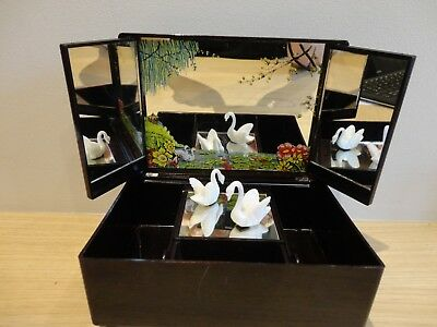 Delightful Vintage 1960s Musical Jewellery Box Swan Lake