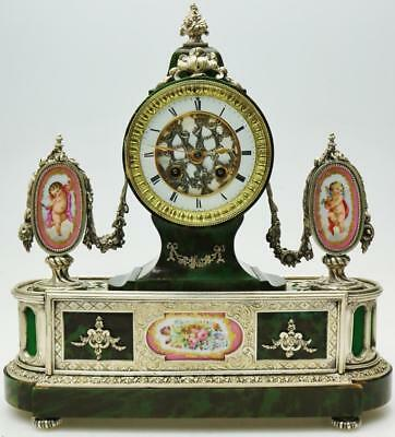Rare Antique French 8Day Silvered Mounts, Green Shell & Pink Sevres Mantel Clock