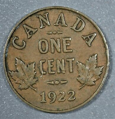 CANADIAN 1922 Cent 1C Bronze Coin CANADA GEORGE V KM28 Grade: VF+/XF A5157