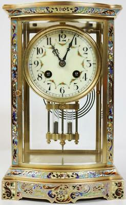 Stunning Antique French Brass & Champleve Enamel 4 Glass Regulator Mantel Clock