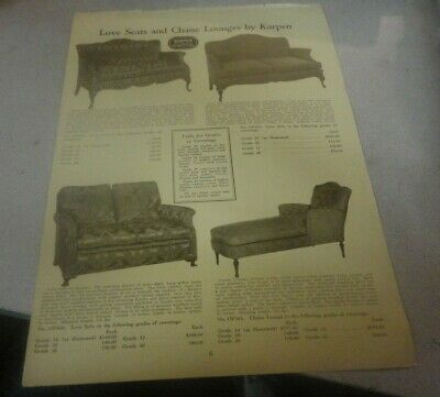 Rare 1909 Love Seats and Chaise Lounges by Karpen Furniture Advertisement