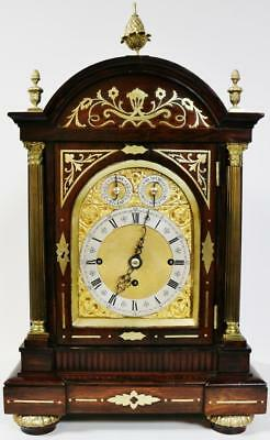 Antique English Rosewood & Bronze Triple Fusee Musical 8Day 8 Bell Bracket Clock