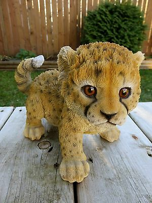 Baby Cheetah Playing Figurine  Statue Resin  New Jungle Animal Spotted