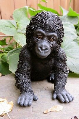 "GORILLA BABY FIGURINE STATUE RESIN PET 5.5""H Jungle Animal Ornament New Ape"
