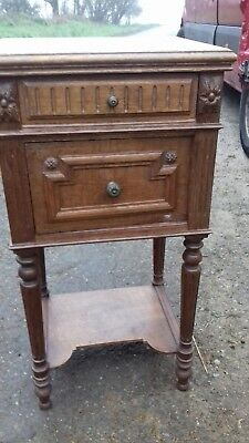 French Antique Bedside Marble Top Solid Wood Cupboard Or Cabinet From Saint-Lo