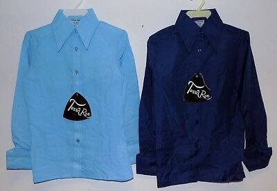 2 x VINTAGE 1970's UNWORN GIRLS SKY BLUE & NAVY POINTY COLLAR BLOUSES SIZE 30""