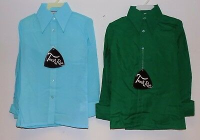 """2 x VINTAGE 1970's UNWORN GIRLS GREEN & TURQUOISE POINTY COLLAR BLOUSES SIZE 30"""""""