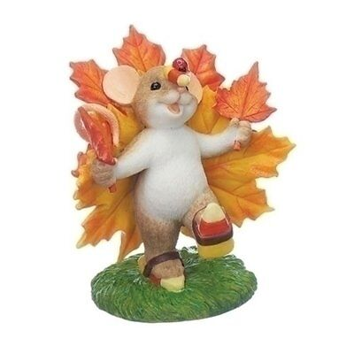 Charming Tails Mouse with Maple Leaves Candy Corn Fall Harvest Figurine 130459