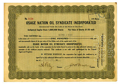 Osage Nation Oil Syndicate Inc., 1919 Issued Stock Certificate