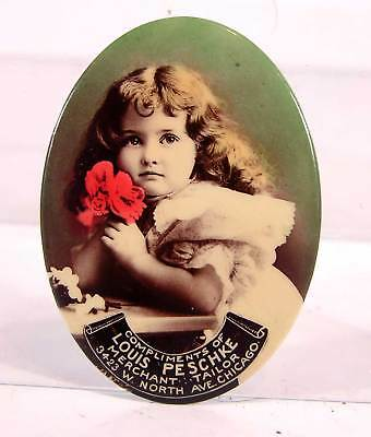 ca1905 CELLULOID ADVERTISING POCKET MIRROR - BEAUTIFUL LITTLE GIRL - TAILOR SHOP