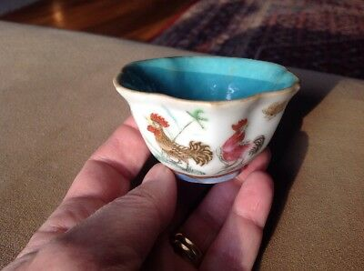 Chinese Tongzhi Period Small Cup Roosters/Cocks Flowers Famille Rose Antique