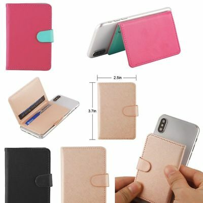 Mobile Phone Leather Wallet Credit ID Card Holder Pocket 3M Adhesive Sticker