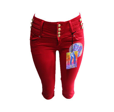 NEw Tush Push  colombian red stretch levanta cola high waist capris shorts-