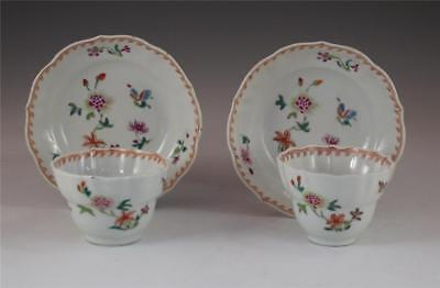 SUPERB PAIR ANTIQUE 18th C CHINESE PORCELAIN FAMILLE ROSE CUPS & SAUCERS