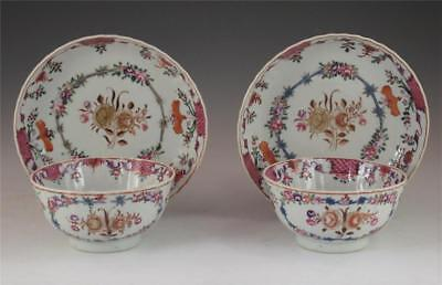 FINE PAIR ANTIQUE 18th C CHINESE PORCELAIN FAMILLE ROSE FLUTED BOWLS & STANDS