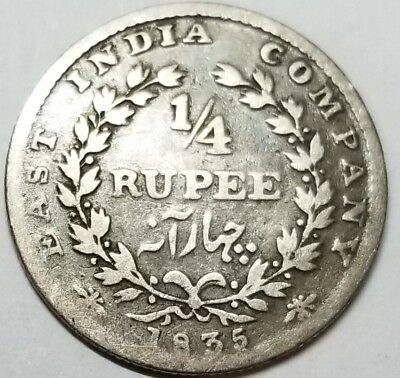 India 1835 One Quarter Rupee William IV without initials KM#448.3  Free Shipping