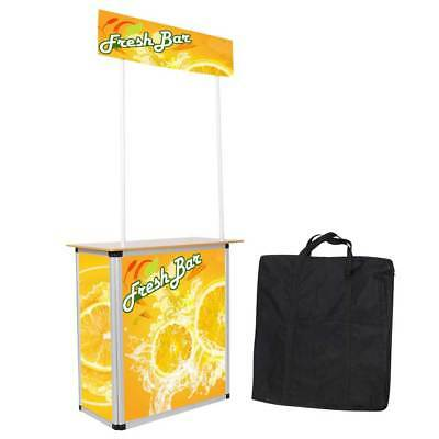 Portable Tradeshow Display Wood Table Counter Booth Promotion Kiosk Banner Stand