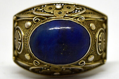 Antique Chinese Silver and Lapis Lazuli Filigree Ring Size 4 3/4