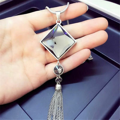Charm Women Sweater Tassel Square Big Drop Crystal Long Chain Pendant Necklace