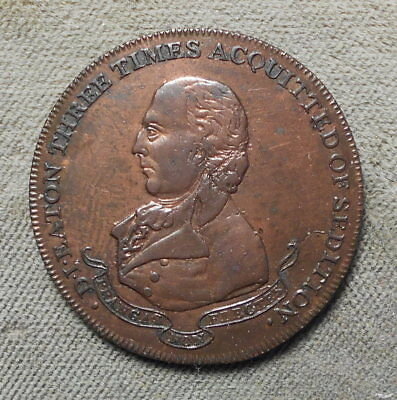GB 1795 Halfpenny D&H Middlesex-301 Conder Token 3 Times Acquitted Of Sedition