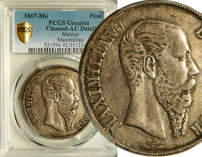 Pcgs Au Mexico (Empire Of Maximilian) Silver 1 Peso 1867