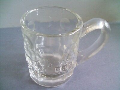 A & W Root Beer Rare 1920-30s Embossed Logo & Circles Clear Glass Large Mug
