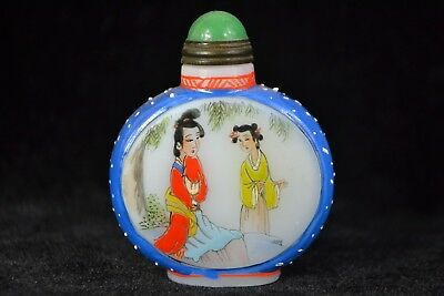 Collectible Old glassware Carve Chinese belle handwork paint Snuff Bottle
