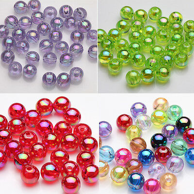 50/100Pcs Acrylic Charms Beads Colorful Round Spacer Beads Jewelry Making 8mm
