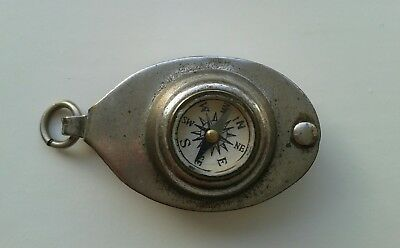 Very rare English Antique Nautical Compass Magnifying Glass Loop Fob