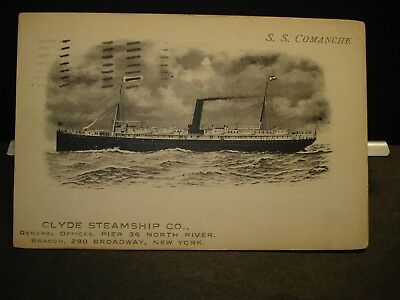 1911 Steamer SS COMANCHE, CLYDE Steamship Co Naval Cover Broadway Ave, NY